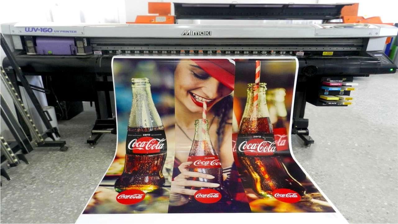 Coca Cola-ի համար ինքնակպչունի տպագրություն
